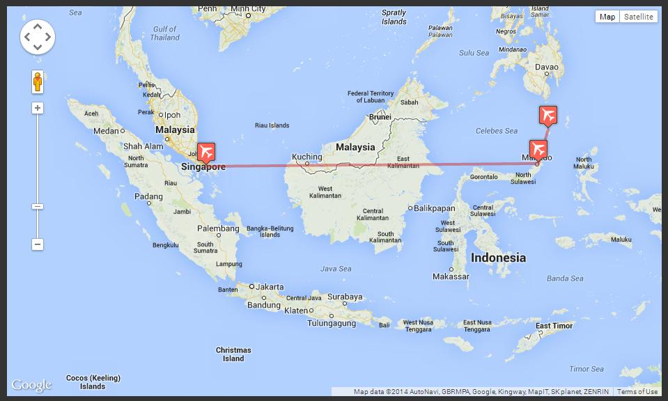 TO GET TO SANGIHE FROM SINGAPORE